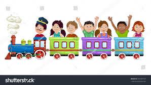 kids boys girls on cartoon train stock vector 356557157 shutterstock