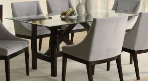Round Glass Kitchen Table Glass Wood Dining Room Table Ivory Tufted Faux Leather Dining