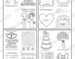 wedding coloring book activity reception childrens favor kids