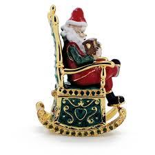 christmas santa in green rocking chair christmas trinket box with