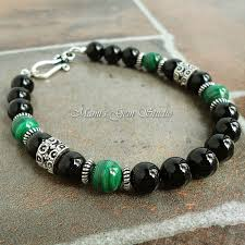 Handmade Mens Bracelets - black and green bracelet for malachite black onyx
