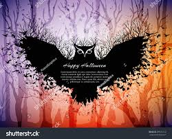 halloween owl background halloween card fairytale scene flying magic stock vector 299621312