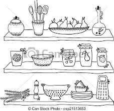 dessins cuisine ustensiles croquis étagères dessin cuisine croquis clipart