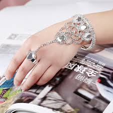 crystal ring bracelet images Trendy crystal chain rings bracelet bangles with ring for party jpg