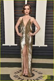 Vanity Fair Oscar Party Nina Dobrev U0026 Lily Collins Get Dolled Up For Vanity Fair U0027s Oscars