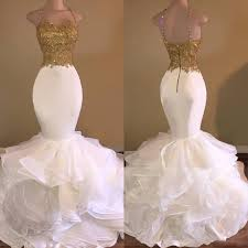 gold wedding dresses mermaid white gold wedding dresses spaghetti tiered