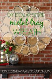 dollar tree metal serving tray wreath dimples and tangles