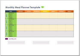 free monthly meal planner template for excel 2007 2016