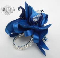 blue corsages for prom navy blue wrist corsage blue silk corsage sparkling wrist