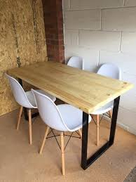handmade rustic scaffold board dining table with steel legs and 4x