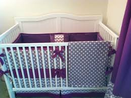 bedding purple and gray crib bedding grey chevron and purple and
