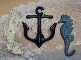 mermaid anchor seahorse cast iron wall hook set of 3 navy white