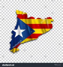 Flag Of Catalonia Map Independent Catalonia Catalan Nationalist Flag Stock