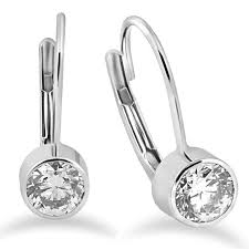 back diamond earrings lever back diamond studs bezel diamond studs vs 60ct