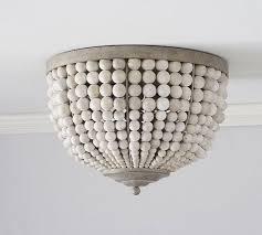 wood bead ceiling light leila beaded flushmount pottery barn