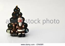 Wooden Toy Christmas Tree Decorations - santa claus with a christmas tree a teddy bear and gifts