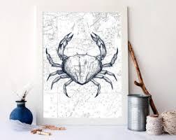 mud crab art print crab poster nautical art home decor