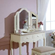 Mirrored Bedroom Furniture Uk by Cream Dressing Table Console Triple Mirror French Country Chic