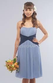bridesmaid dress online of strapless chiffon blue sleeveless