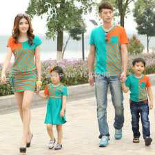 2015 summer family fashion dress 2 colors striped cotton
