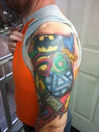 colorful 3d video game tattoos on half sleeve photos pictures