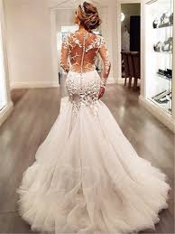 mermaid wedding dress appliques mermaid wedding dress with sleeve tbdress