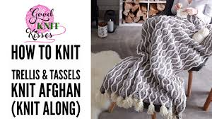 knit along trellis and tassels knit afghan from yarnspirations