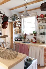Kitchen Cabinet Curtains Tiny Kitchen With Cabinet Curtains And Open Shelving Tiny