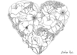 elanise art flowers in a heart flowers and vegetation coloring