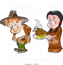 thanksgiving american vector of a native american cartoon woman offering a pilgrim