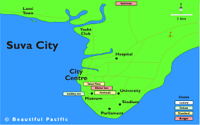 map of suva city suva map fiji islands