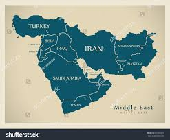 middle east map hungary modern map middle east countries illustration stock vector