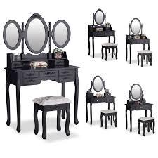 black makeup desk with drawers elegant black dressing table makeup desk oval mirror with stool