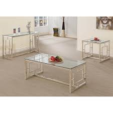 Glass And Metal Sofa Table Group Contemporary Metal End Table With Glass Top U0026 Geometric Motif