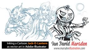 Draw Halloween Drawing Tutorial Jack O Lantern Halloween Cartoon In Adobe