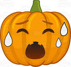 a halloween pumpkin sweating in pain cartoon clipart vector toons