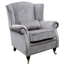 wing chair fireside high back armchair perla illusions grey velvet