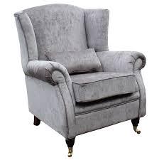 Perla Vanity Chair Wing Chair Fireside High Back Armchair Perla Illusions Grey Velvet