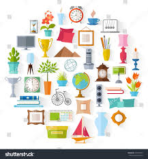elements of home design set home decor accessories icons souvenirs stock vector 430759993