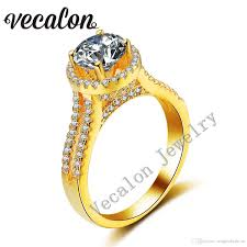 crown wedding rings 2017 vecalon yellow gold crown wedding ring for women 3ct