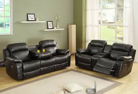 Black Leather Reclining Sofa And Loveseat Homelegance Marille Glider Reclining Loveseat W Center