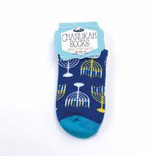 chanukah gifts blue menorah crew socks