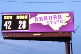 east carolina puts up pirate themed billboard after beating north