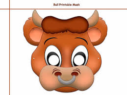 printable bull mask unique bull printable mask photo props by holidaypartystar on zibbet