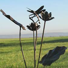 handcrafted metal rustic dragonfly garden stake ornament