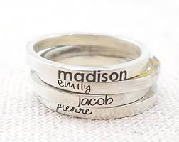 stackable engraved mothers rings stackable mothers ring etsy