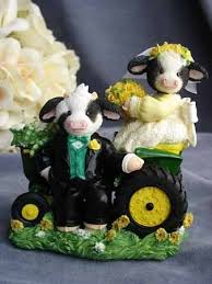 tractor wedding cake topper s moo moos for heifer my deere western tractor cow