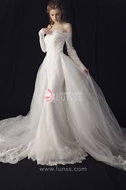 princess wedding dress the shoulder sleeve lace princess wedding dress with