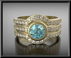 Aquamarine Wedding Rings by Aquamarine Wedding Ring Set Vidar Jewelry Unique Custom