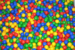 a point with colored plastic balls special needs families